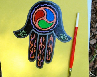 Hamsa Hand Magnet, 'World Triad' symbol,  protection, healing, abundance ,Made to Order only