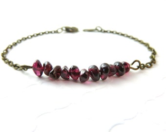 Garnet Bracelet, Antiqued Brass Bracelet, Chip Bead Gemstone Bracelet, Garnet Jewelry, Bohemian Jewelry, January Birthstone, Beaded Bracelet
