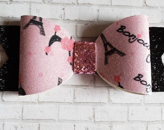 Paris Pink and Black Glitter Bow