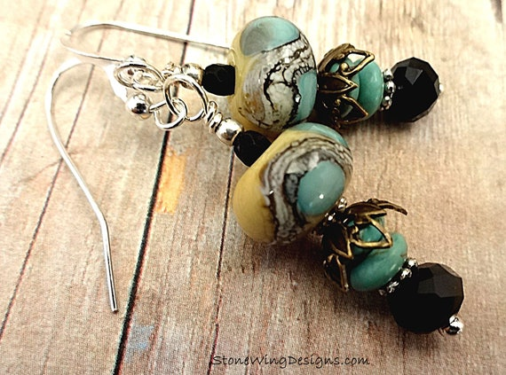 Artisan Lampwork Earrings in Aqua Blue, Yellow and Black