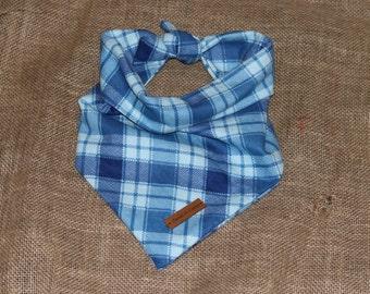 "The ""Rigby"" Dog Bandana- Blue Flannel Plaid Bandana"
