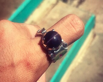 Cat's Eye Ring. Silver 950. Ruby. 11 1/2 US Size (n.3)