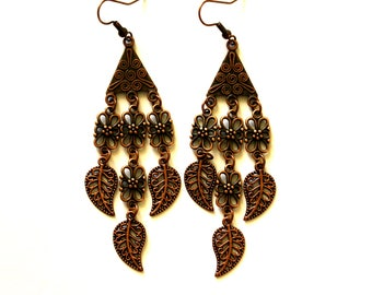 Copper Earrings, Boho Chandelier Earrings, Leaf Earrings, Gypsy Earrings, Ethnic Earrings, Tribal Earrings, Hippie Earrings, Antique Earring