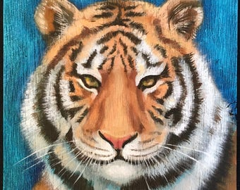 Tiger Painting on Weathered Plywood