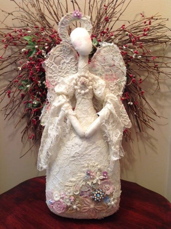 Lady Marion - Mailed Cloth Art Doll Pattern Lace Angel Free Standing Stump Doll Pattern