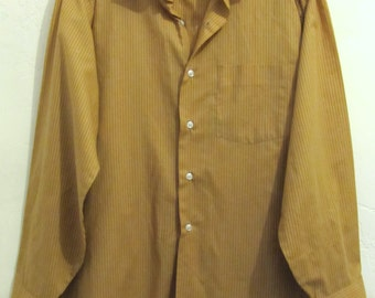 Marked Down 50%@@A Men's Vintage 80's,Striped Gold SANFORIZED Shirt by ARROW.16-33