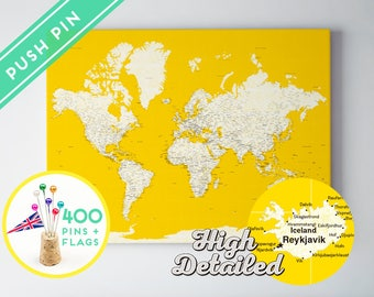 World map posters canvas frames and guest books by macanaz unique map world pushpin ready to hang unique push pin map personalized world travel map with pins and flags pinboard pin board with tacks gumiabroncs Choice Image
