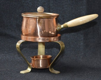 Vintage Tagus Portugal Copper Fondue Pot, Vintage Copper Butter Melter from Portugal, 4 pieces, Could Be Used For Essential Oil Diffuser