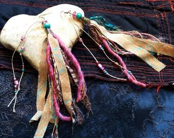 Very long earrings hippie, textile earrings, ethnic earrings, festival, sacred feminine