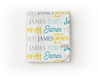 Name Blanket / Personalized Baby Blanket / Monogram Blanket - Swaddle Blanket / Organic Baby Blanket / Organic Swaddle / Modern Baby Blanket