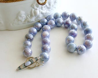Faceted Lavender Mystic Moonstone Choker Necklace MOP Blue Chalcedony Inlay Toggle - Violet Necklace