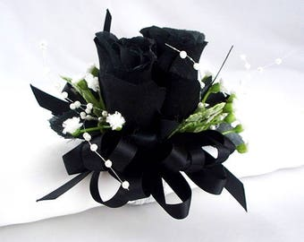 Black and white wrist corsage prom bracelet black and white rose corsage wrist corsage bracelet black wedding wristlet black deep black corsage prom corsages black silk accessories bridal party mightylinksfo