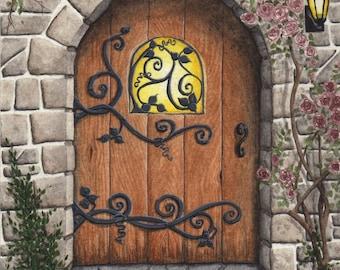 Original Painting Stone Arched Door