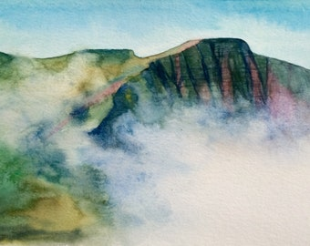 Pen y Fan, Brecon Beacons, mountain painting, welsh landscape, Misty landscape, Misty mountain, Wales watercolor, Landscape watercolor