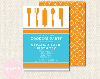 Cooking Party Collection -  INVITATION - Mirabelle Creations