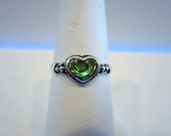 Vintage Sterling Silver Heart Ring, Abalone Heart Ring, Size 6 3/4, Gifts for Women