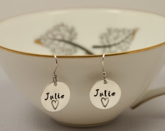 Personalized Jewelry, Sweet Circle Earrings- custom earrings, hand stamped jewelry-Sterling Silver- name jewelry