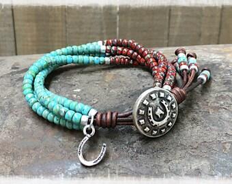 Beaded Wrap Bracelet/ Seed Bead Leather Wrap Bracelet/ Western Leather Wrap Bracelet/ Boho Leather Wrap Bracelet Gift For Her/ Bohemian Wrap