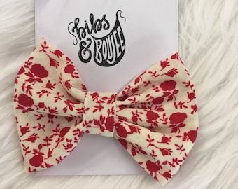 Red/Off-White Floral  Bow