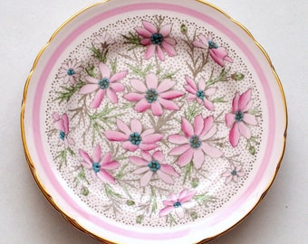 Vintage Tuscan Fine English Bone China Pink Floral Dessert Plates, Set of 4, Valentine's Day Gift
