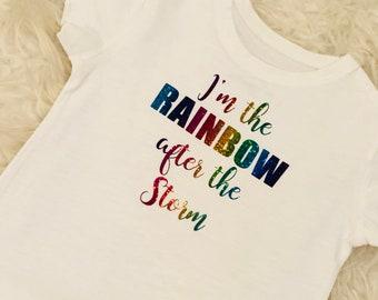 Rainbow Baby T-Shirt, Rainbow Baby Vest, Rainbow Baby Bodysuit, Rainbow Baby Gift, Rainbow after the storm.