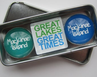 MACKINAC ISLAND, Up North Michigan, Michigan Magnets Set, Michigan Souvenir, Fridge Magnets, Refrigerator Magnets