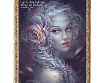 Created with Rose embroidery Painting Diamond girl