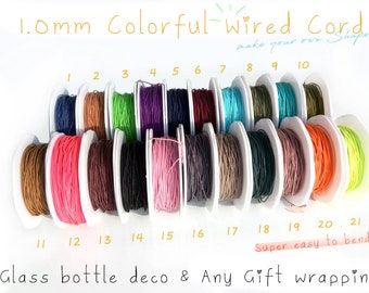 1.0MM Wide Colorful Wired Cord Spool - 30yards Full Roll- Educational DIY Crafts, Stationery, Gift Wrapping Wire
