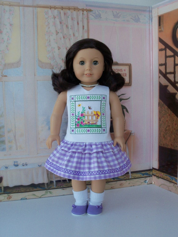 SUMMER SALE! Like American Girl Doll Clothes / Embroidered Summer Ruffle Dress