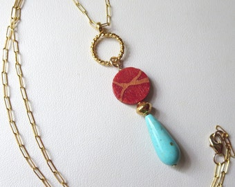 Genuine Turquoise and Sponge Coral Pendant on Gold Chain