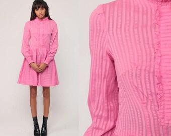Pink Dress 60s Mod Mini Tuxedo Ruffle Twiggy Long Sleeve 1960s High Waisted Striped Vintage Party Lolita Minidress Small