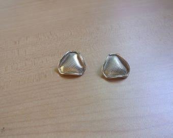 vintage clip on earrings brushed goldtone