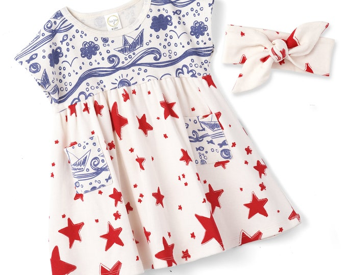 STAR SALE! Baby Girl 4th July Dress, Baby Girl Red Blue Summer Dress, Infant Girl Dress, Red Stars, Blue Trim, Newborn Girl Summer, TesaBabe