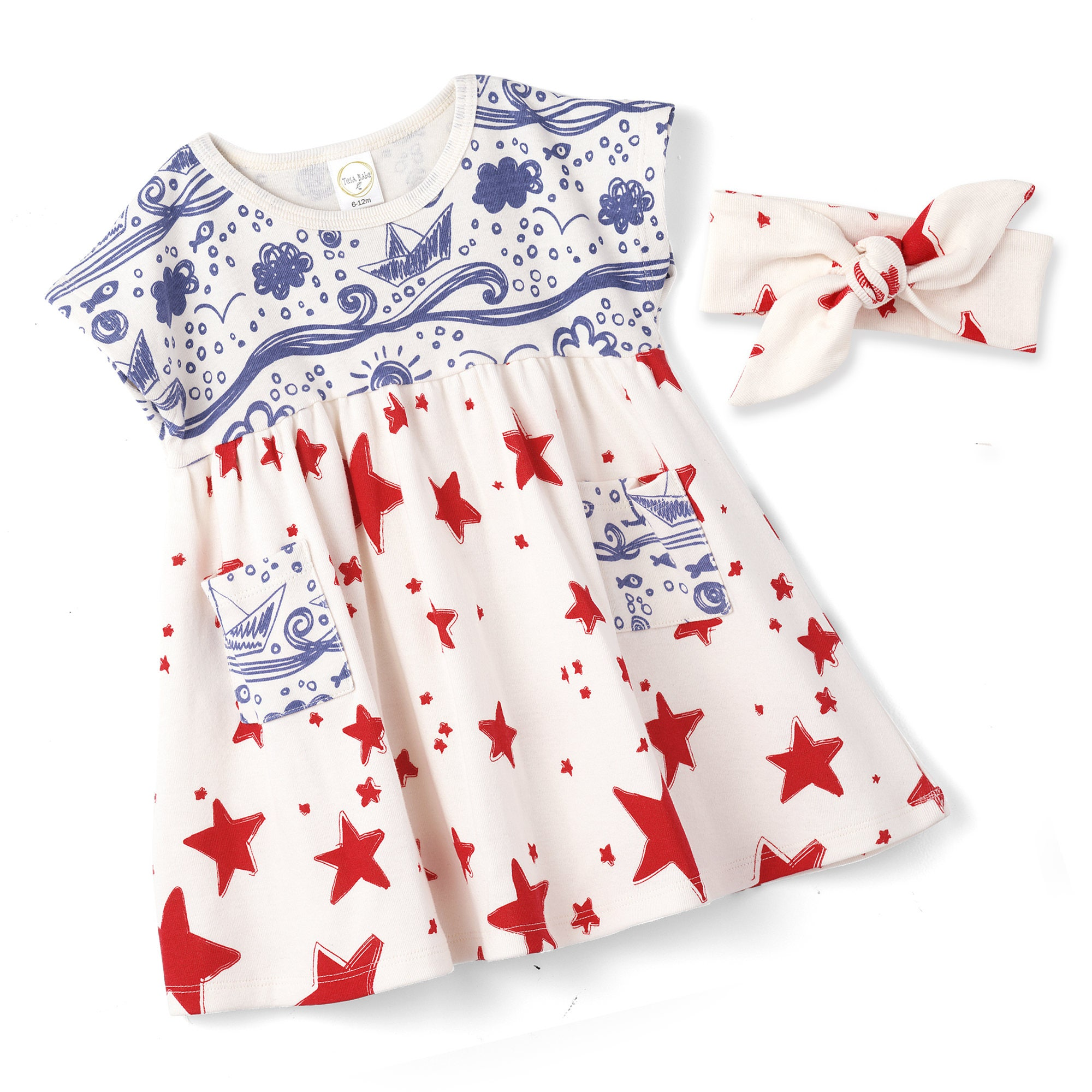 STAR SALE Baby Girl 4th July Dress Baby Girl Red Blue Summer Dress