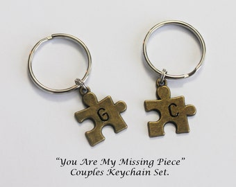 COUPLES KEYCHAINS.  Puzzle Piece Keychains. You Are My Missing Piece. Couples Gift. Initial Keychain. Personalized Keychain. Boyfriend.
