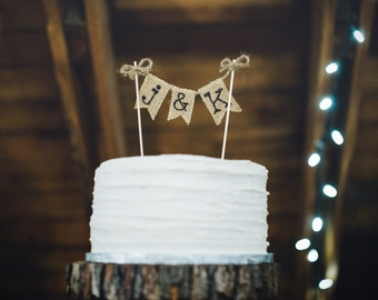 Wedding Cake Topper Burlap Wedding Cake Topper Rustic