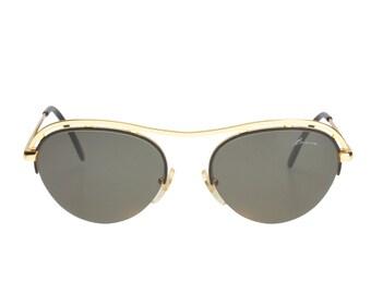 America unusual vintage sunglasses, wavy browline golden metal & black enamel half rimmed style, Made in Italy 1980s NOS