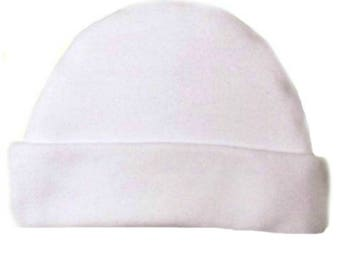 White Capped Baby Hat. 100% Cotton Knit. Double Thick with a Built in Cap to Stay on Baby's Head. Preemie, Newborn Sizes to 6 Months