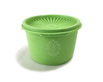 Vintage Tupperware Canister with Lid * Small Kitchen Servalier Storage Container * Yellow or Lime Green