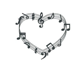 Music love, music lovers font frame and notes, assorted sizes (.pes .hus .dst .vp3 .vip .xxx .exp .jef)  - tattoo embroidery design