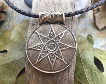 Celtic Sun Pendant, Bronze Sun, Star Sun Necklace, 8 Pointed Star, Star Spiral, Spiral Pendant, Bronze, Pagan Jewelry, Sun Worship Jewelry