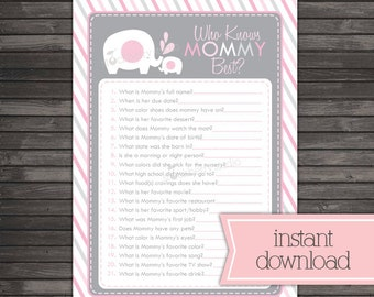 Girl Elephant Baby Shower Who Knows Mommy Best Game - Pink and Gray Baby Shower Games Printable - Instant Download - Girl Baby Shower Game