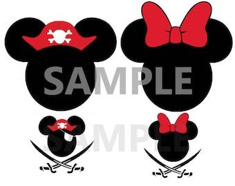 Pirate Mickey Ears-Iron On Heat Transfer-DIY shirt-Vinyl Decal-Vacation Shirt-Yo Ho Yo ho Pirates Life