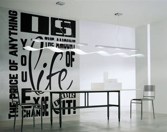 Typography Wall Decals, Home Decor, The - real - price of anything is the amount of life you exchange for it, Henry David Thoreau Quote