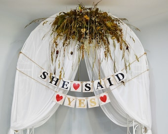 Wooden She Said Yes banner, Rustic wedding wooden sign, Wedding banner, wooden custom banner, wooden garland, wedding garland, custom banner