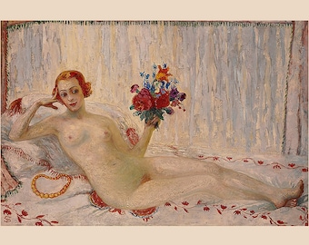 Reclining Nude Art Print ~ Florine Stettheimer ~ A Model (Nude Self-Portrait) 1915  ~ Feminist, New York Modern, Boudoir art, Bedroom Art
