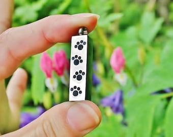 Urn Dog Cat Pet Paw Prints Cremation PENDANT or NECKLACE Holds Cremains Ashes Ash Locket In Memory of Beloved Loss Memorial Gift Silver Paws