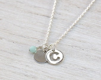 personalized initial necklace Medal and stone amazonite on chain Silver 925