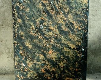 "16""x20"" Abstract Painting ""Golden Run"""