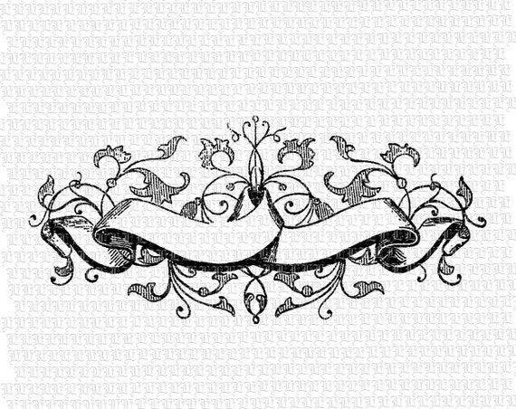 Scroll Style Blank Banners with Leaf Motif Antique Graphics